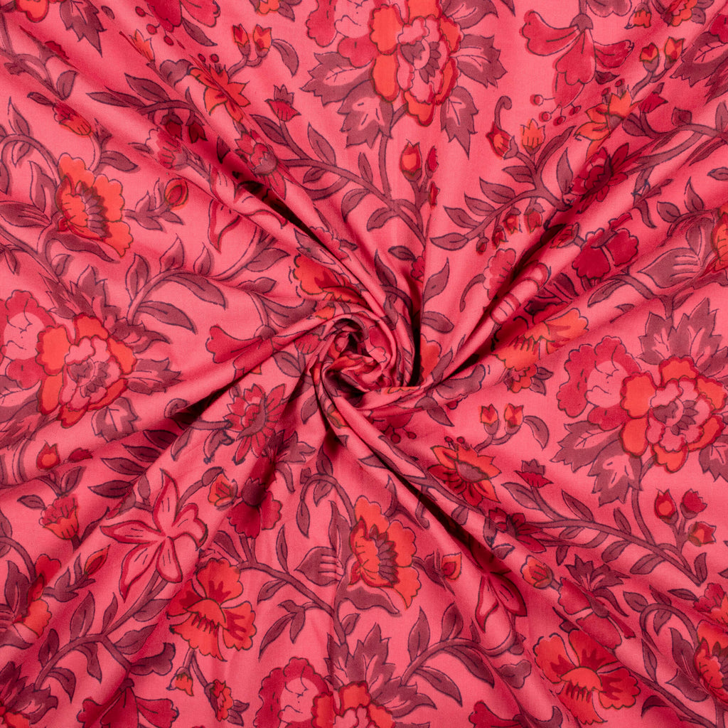 Desire Pink And Orange Floral Pattern Handblock Lizzy Bizzy Fabric - Fabcurate