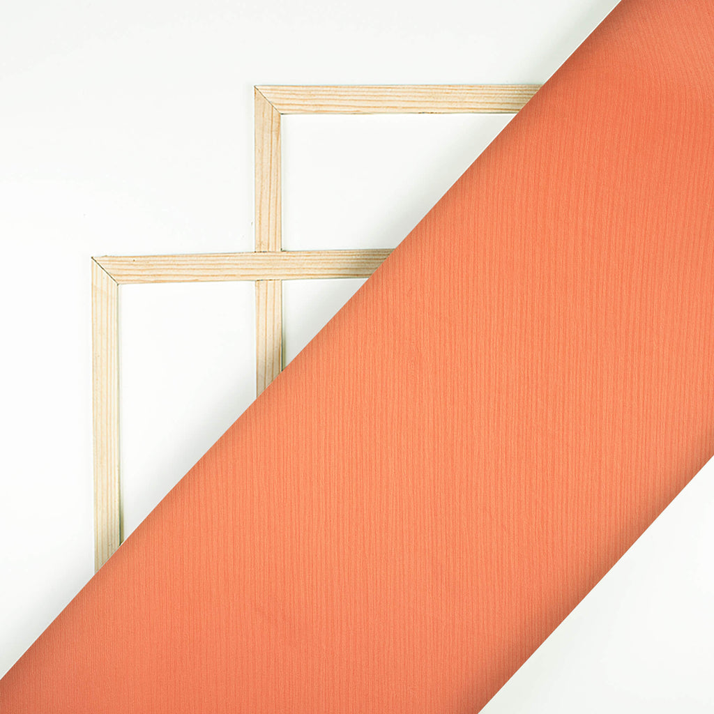 Salmon Orange Plain Premium Chiffon Satin Fabric - Fabcurate
