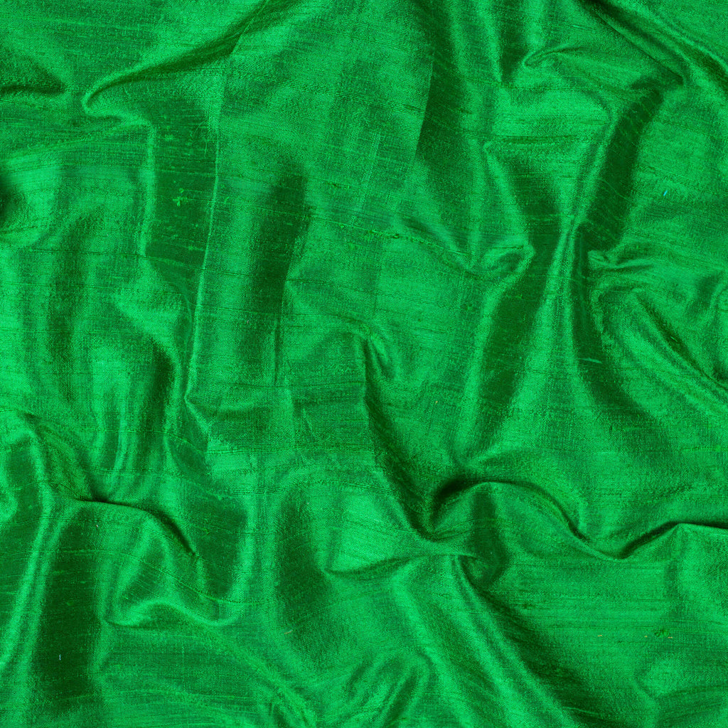 Green Plain Premium Dupion Pure Raw Silk Fabric - Fabcurate
