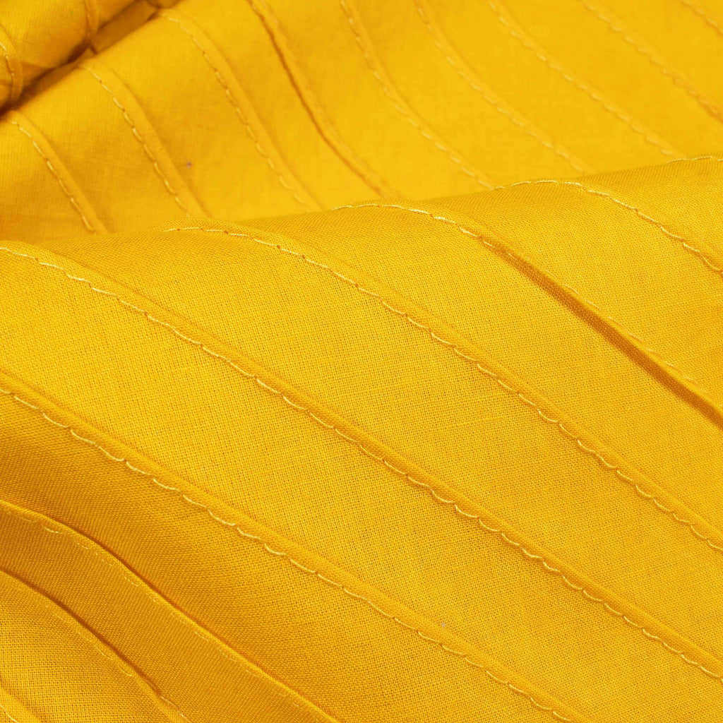 Yellow Stripes Pattern Pin-Tucks Plain Cotton Fabric - Fabcurate