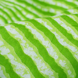 Perrot Green And White Leheriya Pattern Screen Print Cotton Fabric - Fabcurate