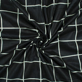 Black And Off White Checks Pattern Screen Print Mulmul Fabric - Fabcurate
