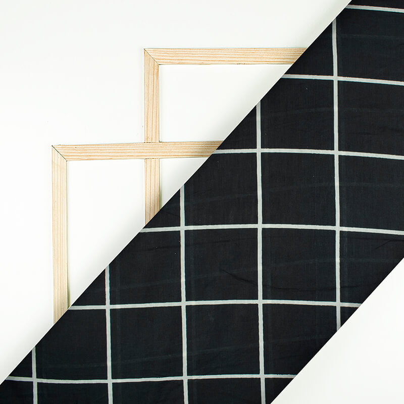 Black And Off White Checks Pattern Screen Print Mulmul Fabric