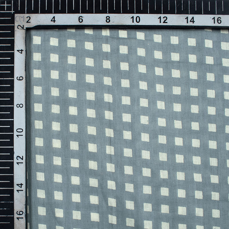 Grey And Off White Geometric Pattern Screen Print Mulmul Fabric