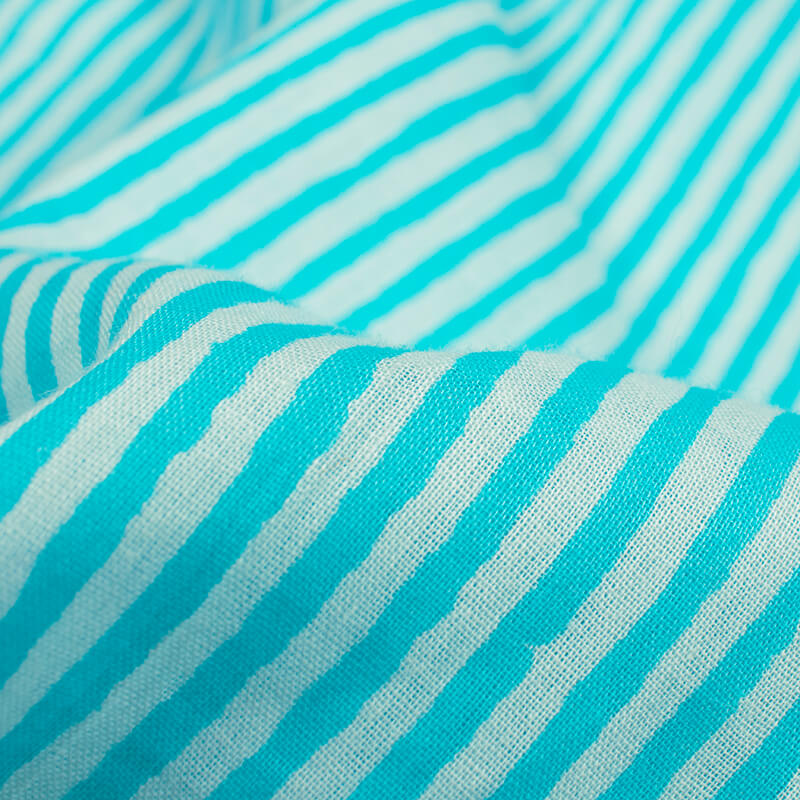 Sky Blue And Off White Stripes Pattern Screen Print Mulmul Fabric