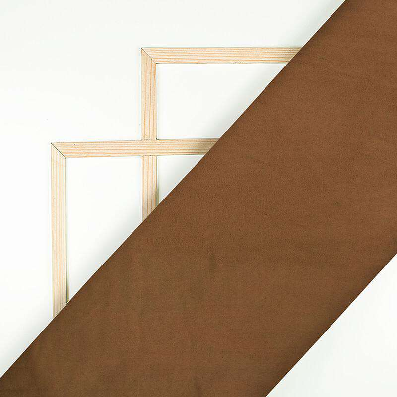 Coffee Brown Plain Suede Fabric (Width 60 Inches)