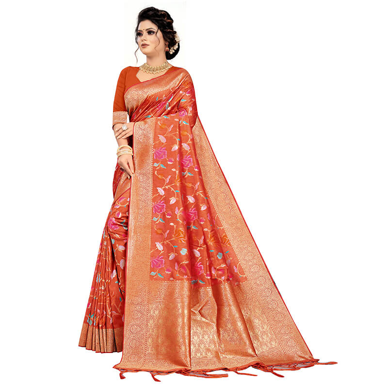 Orange And Fuchsia Floral Pattern Zari Jacquard Borderd Art Tussar Silk Premium Saree With Tassels
