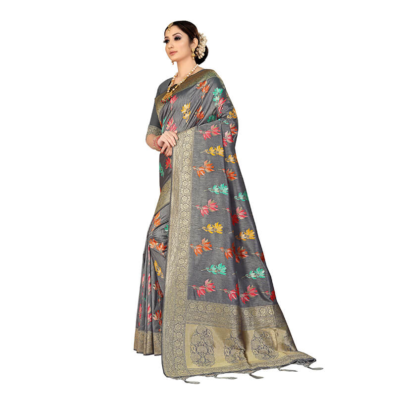 Anchor Grey And Fuchsia Floral Pattern Zari Jacquard Borderd Art Tussar Silk Premium Saree With Tassels