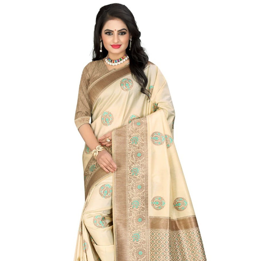 Cream And Beige Booti Pattern Zari Jacquard Borderd Art Tussar Silk Saree With Tassels