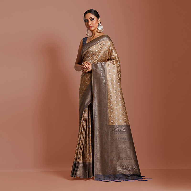 Beige And Navy Blue Ethnic Pattern Zari Jacquard Borderd Art Tussar Silk Premium Saree With Tassels