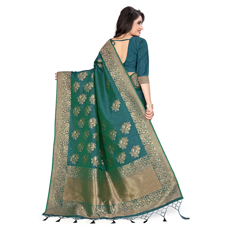 Peacock Green And Beige Ethnic Pattern Zari Jacquard Borderd Art Tussar Silk Premium Saree With Tassels
