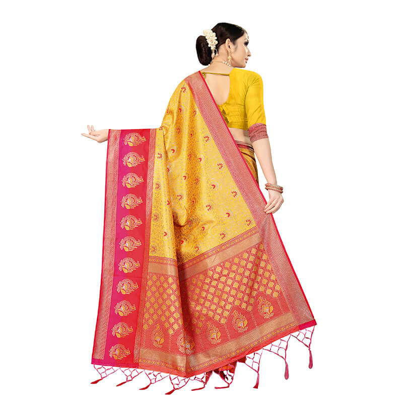 Honey Yellow And Red Floral Pattern Zari Jacquard Borderd Art Tussar Silk Premium Saree With Tassels