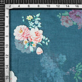 Prussian Blue And Pink Floral Pattern Digital Print Art Silk Fabric - Fabcurate