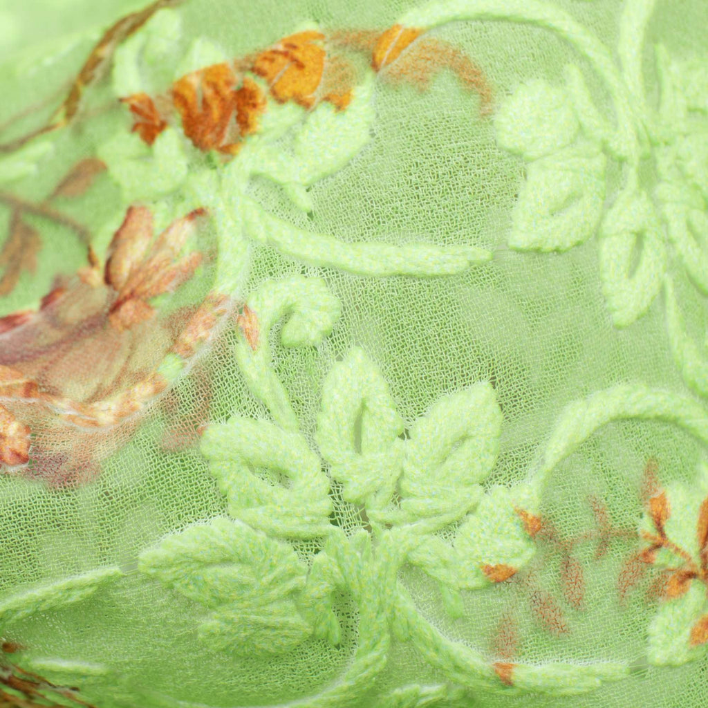 Mint Green And Orange Floral Pattern Digital Print Georgette Embroidery Fabric