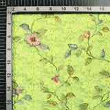 Lemon Yellow And Pink Floral Pattern Digital Print Georgette Embroidery Fabric