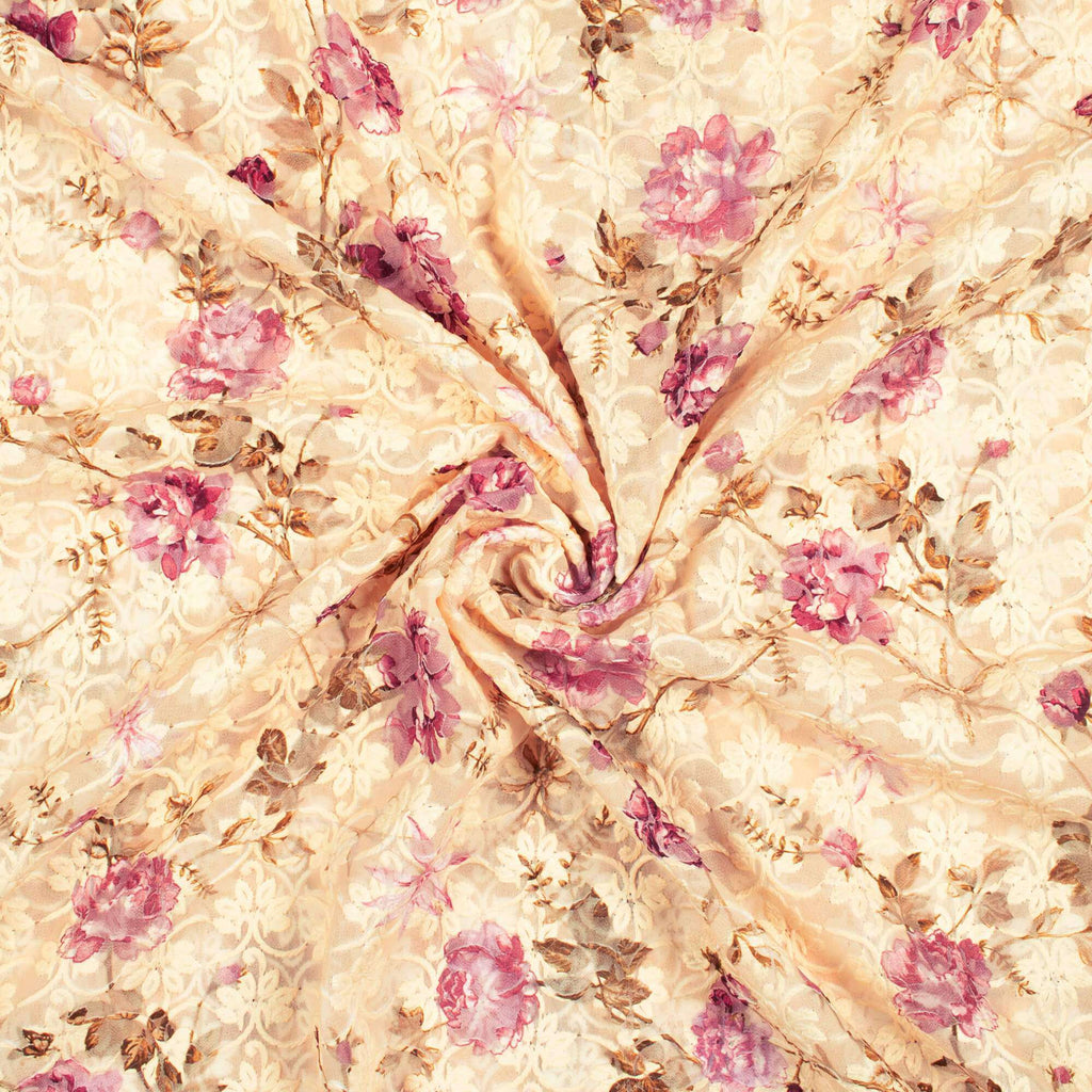 Cream And Purple Floral Pattern Digital Print Georgette Embroidery Fabric - Fabcurate