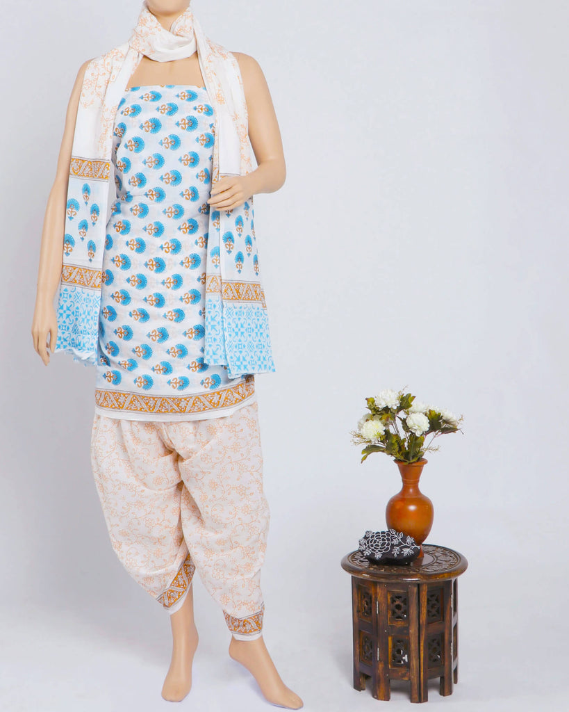 White And Sky Blue Floral Pattern Handblock Unstitched Mulmul Suit With Dupatta - Fabcurate