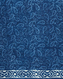 Indigo Paisely Pattern Handblock Unstitched Cotton Suit With Dupatta
