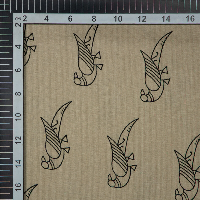 Beige And Black Animal Pattern Glaze Cotton Fabric