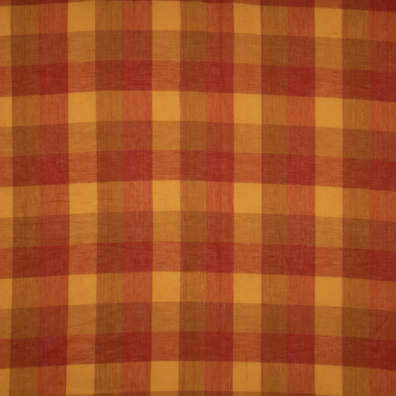 Brown And Yellow Checks Pattern Cotton Fabric