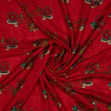 Red Figure And Floral Printed Rayon Fabric