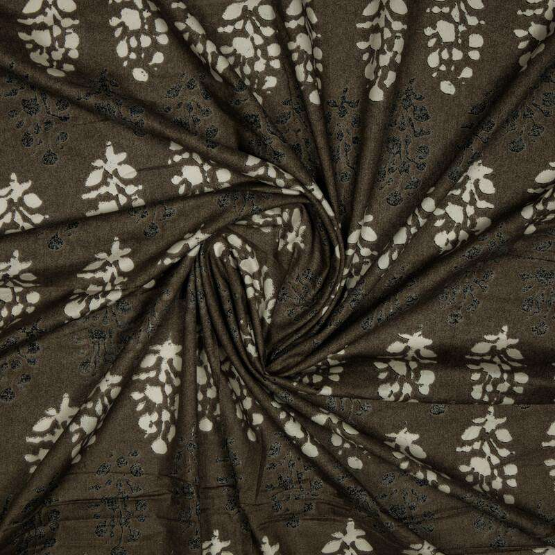 Brown And Off White Batik Pattern Screen Print Cotton Fabric