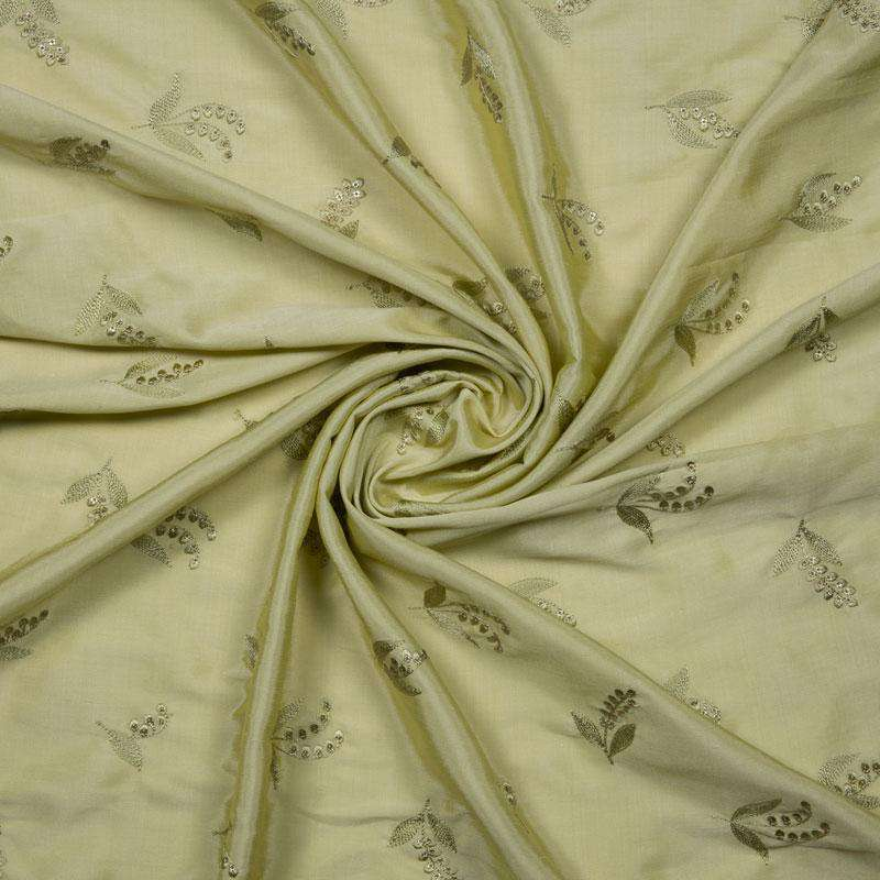 Pastel Green Leaf Pattern Embroidery Silk Fabric
