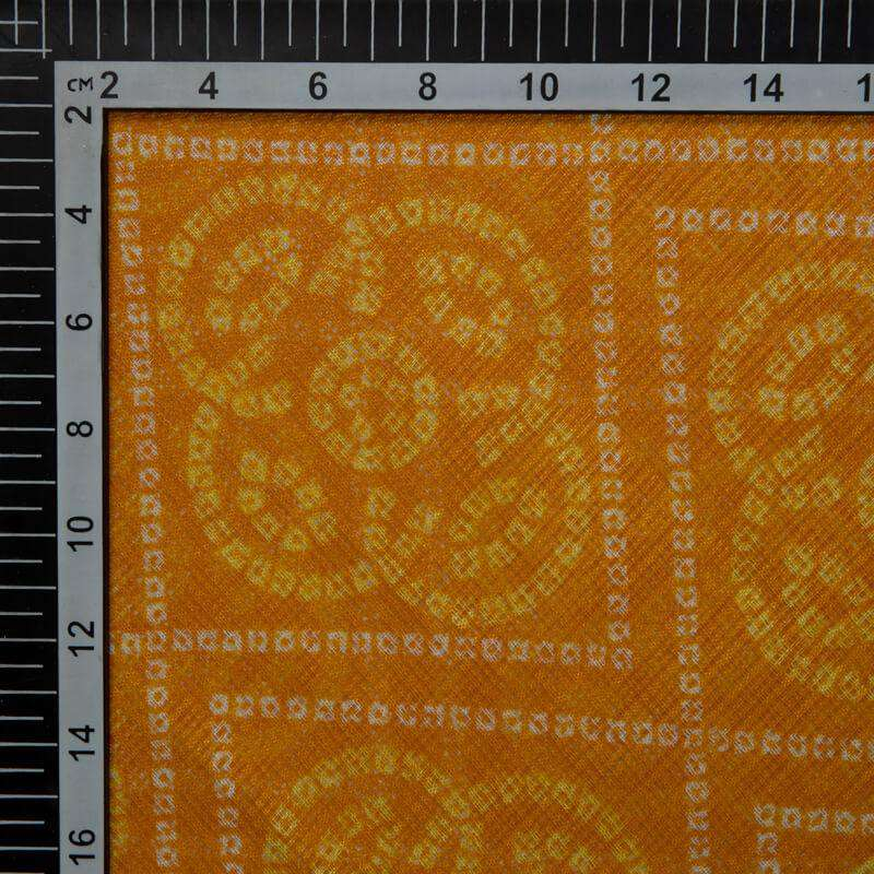 Yellow Ochre Bandhani Print On Kota Doriya