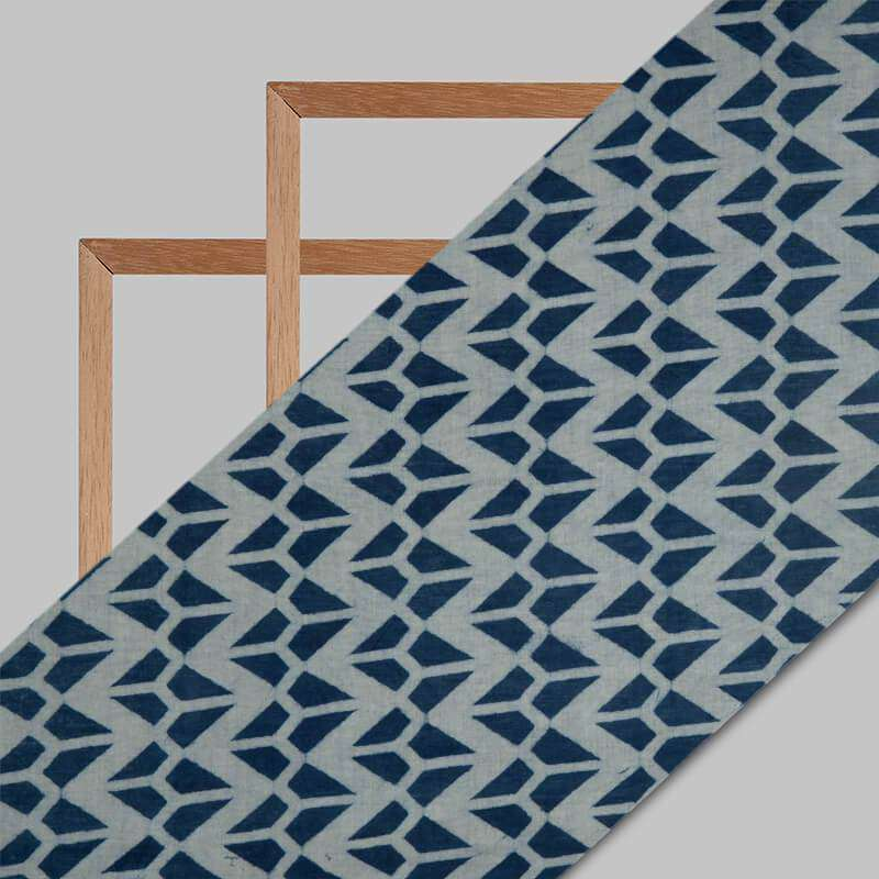 Indigo Geometric Pattern Handblock Cotton Fabric