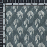 Grey Base With White Floral Pattern Handblock Print Premium Muslin Fabric