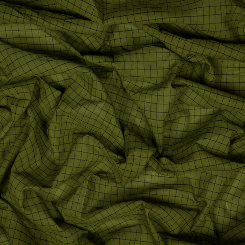 Olive Checks Pattern Loom Texture Cotton Fabric