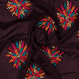 Burgundy Multicolor Embroidery Chinon Fabric
