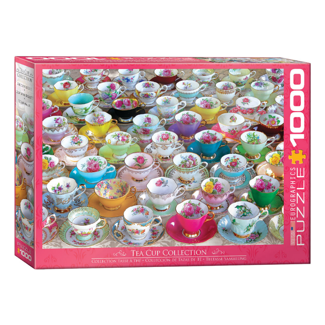 one thousand piece jigsaw puzzle of the old fashioned flowered teacups and saucers.