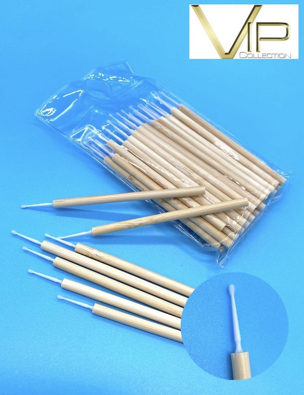VIP- Eyelash accessories-Micro  Brushes with Bamboo Handle 50 pcs/bag - Blend Fit Portables™