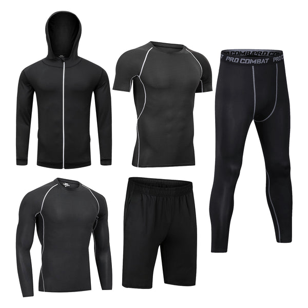 Boomcool Mens Outfit Fitness Workout Compression Pants Shirt Top Long Sleeve Jacket