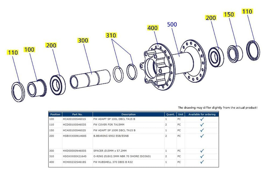 DT 350 FRONT HUB - IS DISC