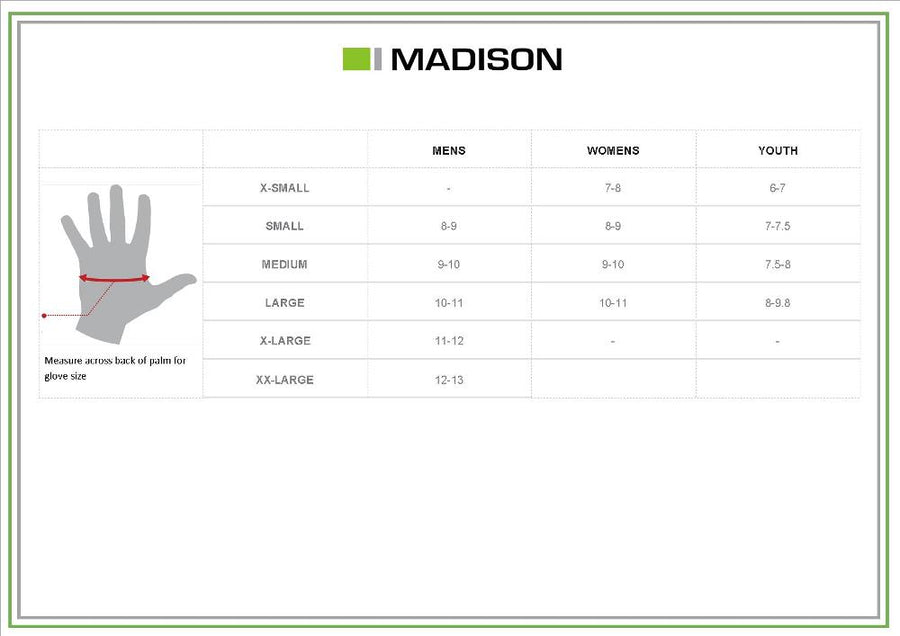 Madison Glove Size Chart Jan 2018