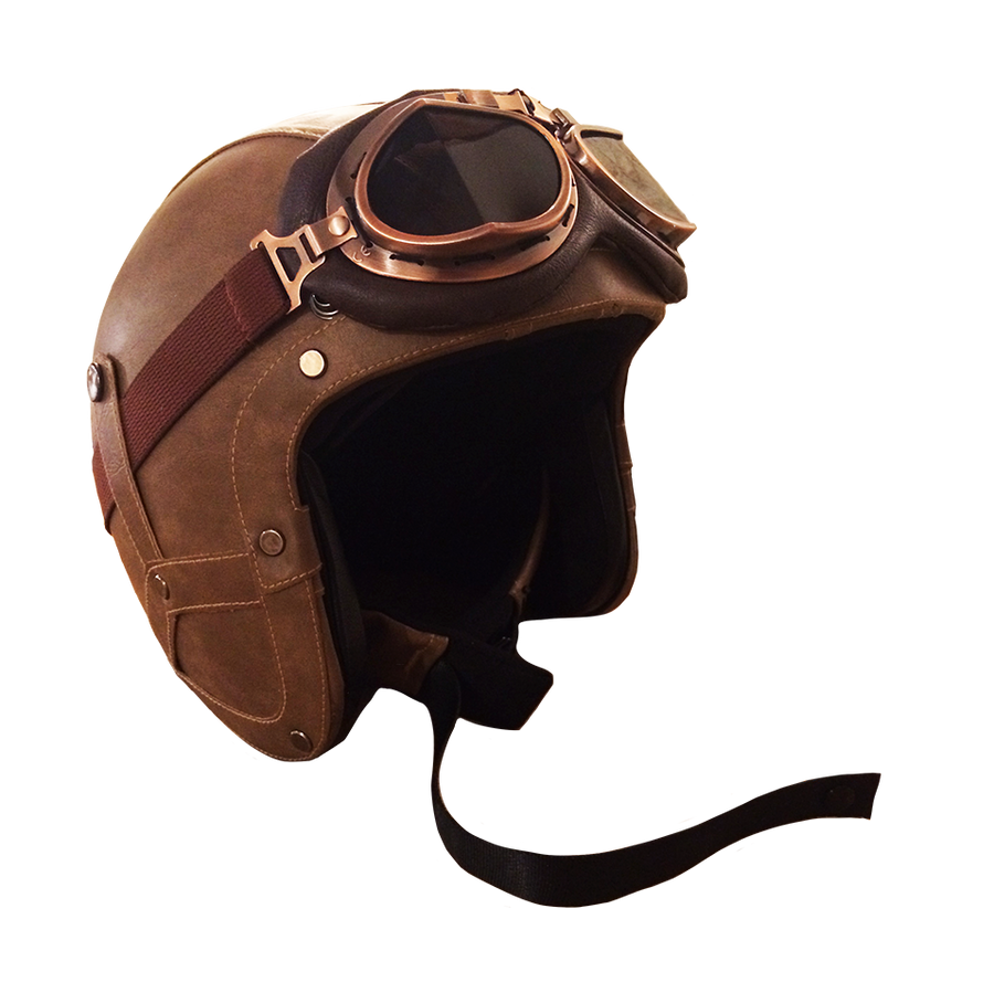 RAYVOLT VINTAGE LEATHER 3/4 FACE W/GOGGLES