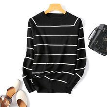 Load image into Gallery viewer, 2020 Autumn Winter Long Sleeve Striped Pullover Women Sweater Knitted Sweaters O-Neck Tops Korean Pull Femme Jumper Female White