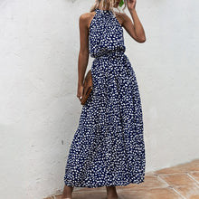 Load image into Gallery viewer, Summer Elegant Sexy beach long Dress Women 2020 Fashion Print Flowers Polka-dot strap Ladies Halter boho dress women vestidos