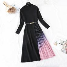 Load image into Gallery viewer, Autumn Winter Elegant Knitted Patchwork Gradient Pink Pleated Dress Women Long Sleeve Office One-Piece Sweater Dress With Belt