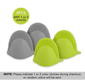 2PCS Heat Resistant Mini Mitts Silicone Pot Holders for Kitchen