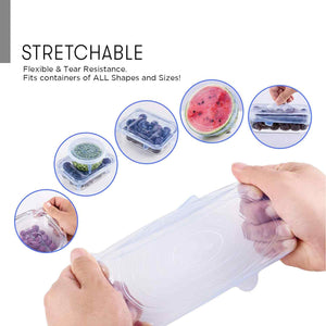 6-PC Set Reusable Silicone Food Cover Lids