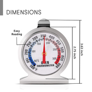 Oven Toaster Grill Thermometer with Large Dial Dual-Scale 50-300°C /100-600°F