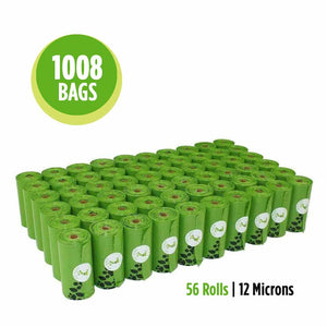 1008 bags or 56 rolls of 12 microns green poop waste bags