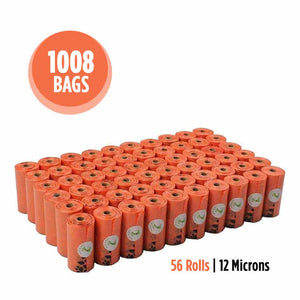1008 bags or 56 rolls of 12 microns orange poop waste bags