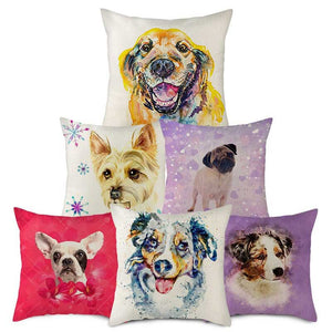 Linen Cushion Covers with Dog Graphic Prints for Home Sofa Chair