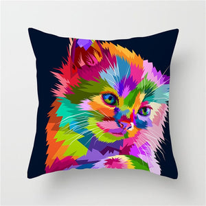 Pop Art Animal Cushion Pillow Covers of Cat Dog Giraffe for Sofa Couch