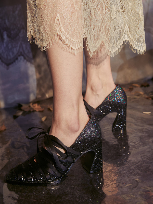 Ballet Heel Shoes  Glitter