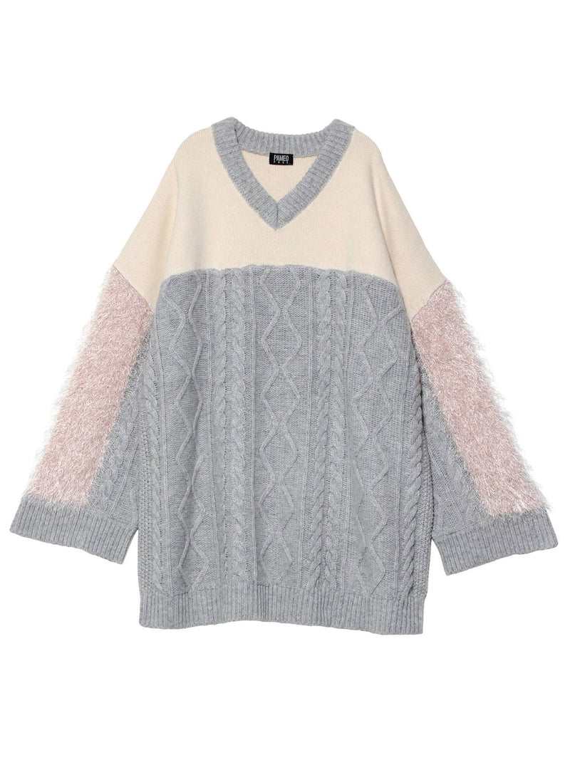 Switching V-neck Sweater